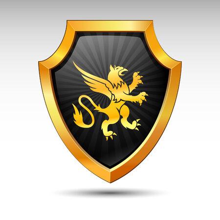 shield emblem: Scudo su uno sfondo bianco.  Vettoriali