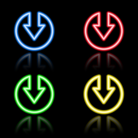 Icon set of neon buttons. Eps8 Stock Vector - 8220801