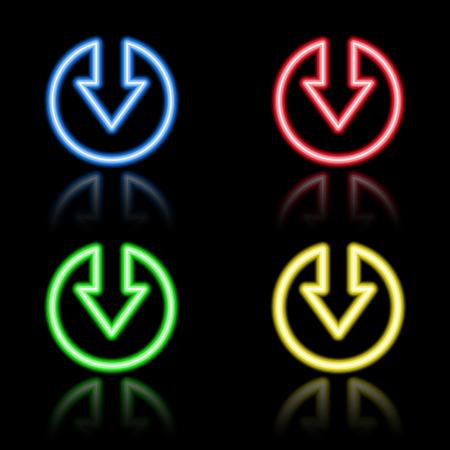 iluminacion led: Icono de conjunto de botones de ne�n. Eps8