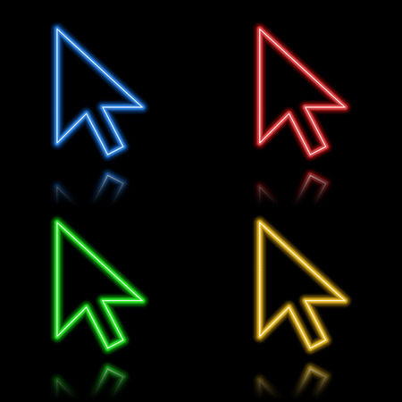 Icon set of neon buttons. Eps8 Vector