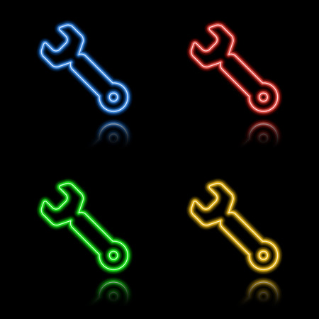 Icon set of neon buttons. Eps8 Stock Vector - 8220807
