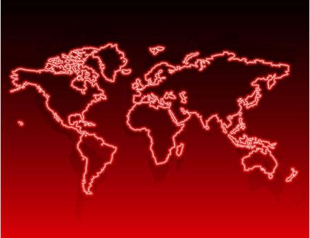Neon world map. illustration