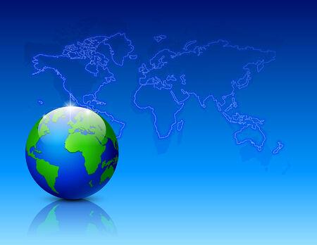 Neon world map with globe.   illustration Vector