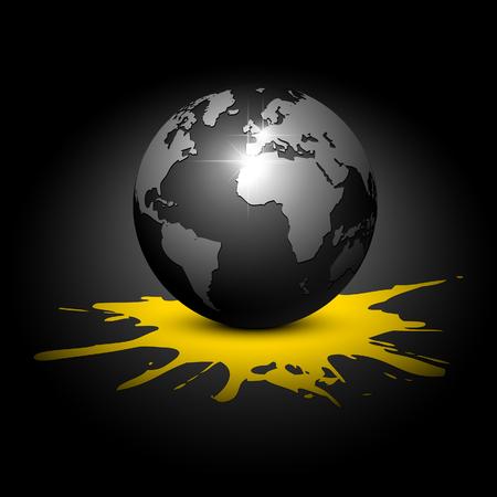 earth color: Globe on a black background. illustration.