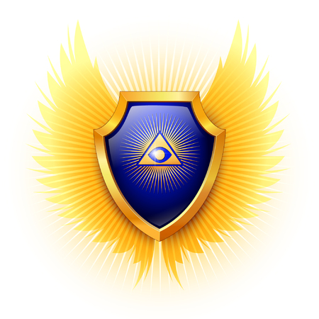 Eye of Providence. Shield on a white background.  Vector