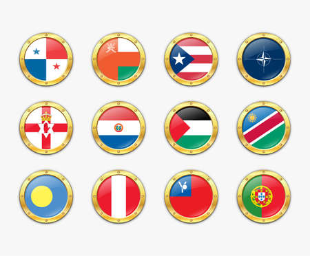 Shields with flags.  illustration.   Vector