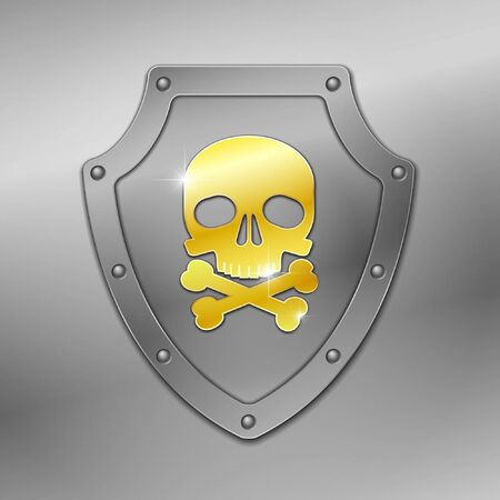 virus icon: Shield with skull