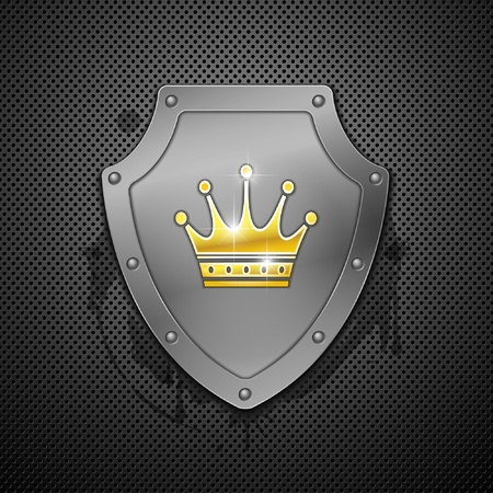 3 dimensions: Metallic shield with crown.
