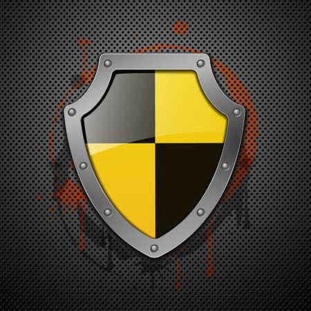 anti: Metallic shield on a metal background.