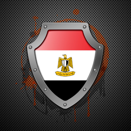 Shield with the image of a flag of Egypt.  Vector