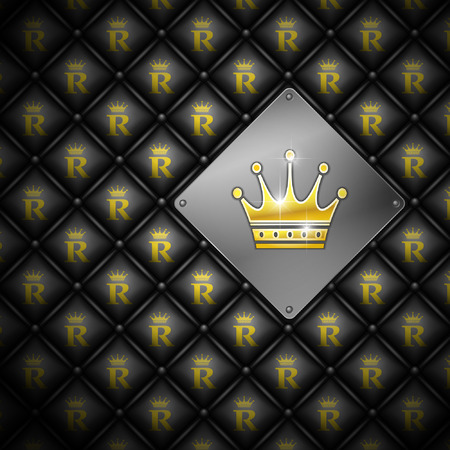 Abstract vector background with crown. Leather upholstery.   Vector
