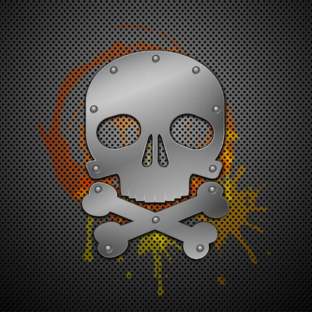 death metal: Abstract background with skull. Vector illustration.