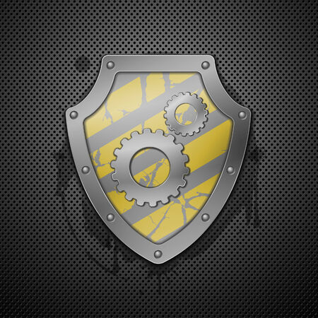 anti: Metallic shield with gears on a white background.