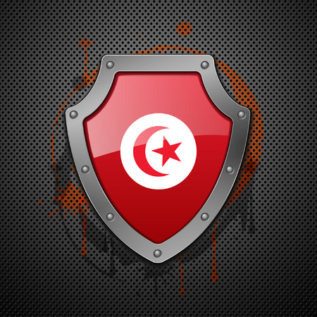 Shield with the image of a flag of Tunisia. Vector illustration. Vector
