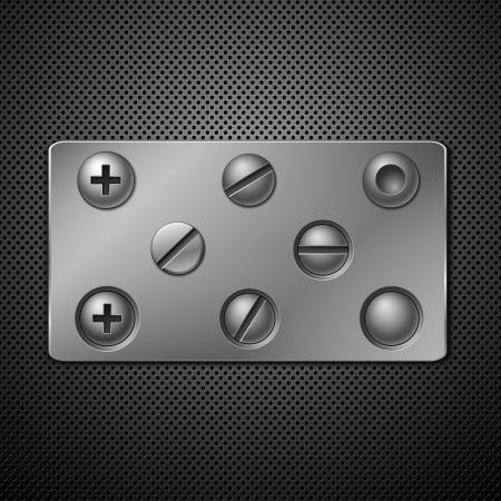 Schroeven en klink nagels. Elementen voor uw ontwerp. Vector illustratie.