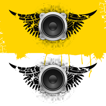 Party design element with speakers . Vectorillustration Vector