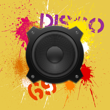 Party design element with speakers . Vector illustration. Vector