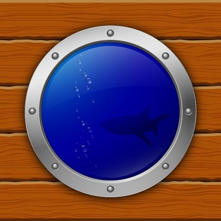 ventana ojo de buey: Portilla. tibur�n. ilustraci�n vectorial. eps10 Vectores