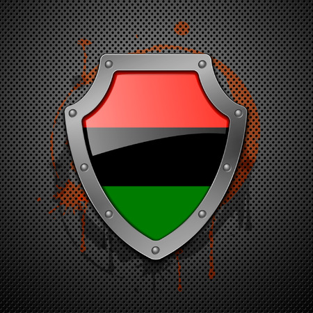 Shield with the image of a flag of Libya. Vector illustration. Stock Vector - 8920133