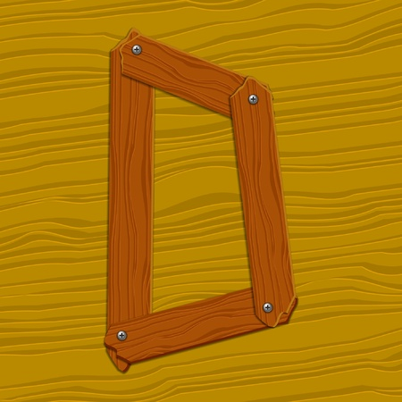 The stylized wooden letter. illustration. Vector