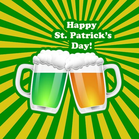 beer party: St. Patrick Day background. Vector illuatration.