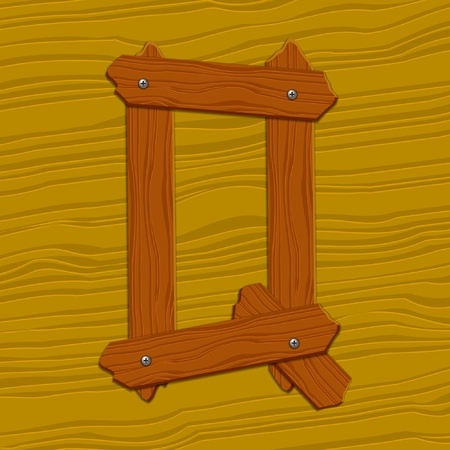 The stylized wooden letter. Vector illustration. Vector