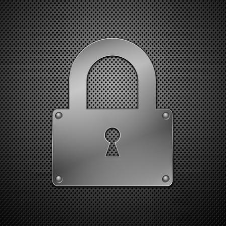 travar: metallic lock. Vector illustration. Ilustra��o
