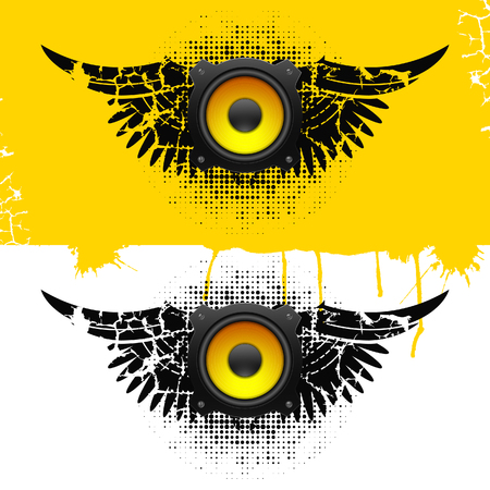 Party design element with speakers . Vector illustration Vector