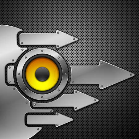 built structure: Abstract metal background with speaker. Vector illustration.