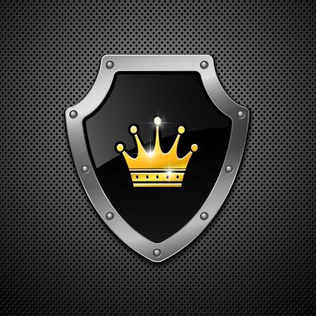 shield emblem: Scudo con corona su uno sfondo di metallo.
