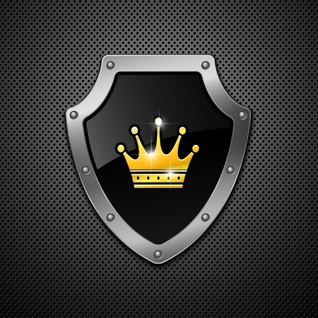 Shield with crown on a metal background.  Illustration