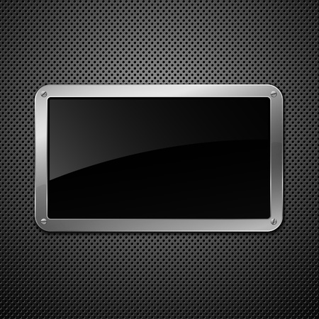 Glossy black plate on a metallic background.   Vector