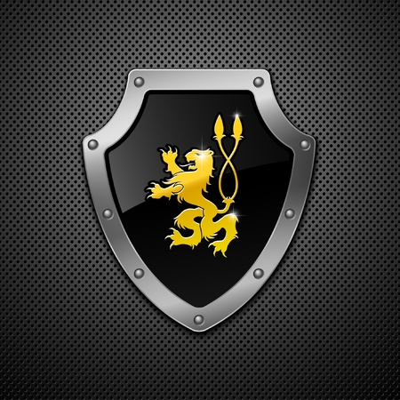3d lion: Shield on a metallic background.