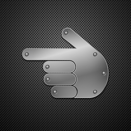 finders: Metallic hand icon. Vector illustration.