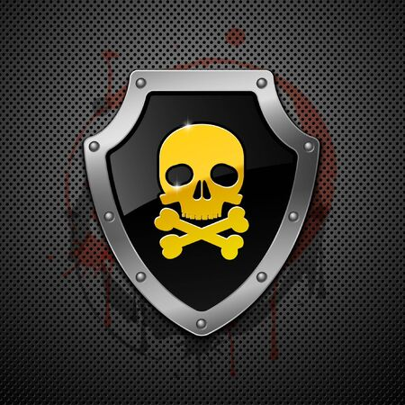 Shield with skull on a metallic background.  Vector