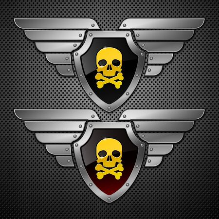 safety: Shield with skull and wings on a metallic background.