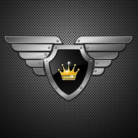 wings icon: Scudo con corona e Ali su uno sfondo metallico.  Vettoriali