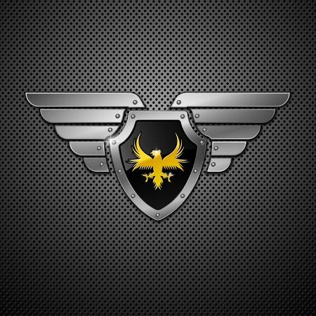 shield emblem: Scudo con aquila e le ali. Vettoriali