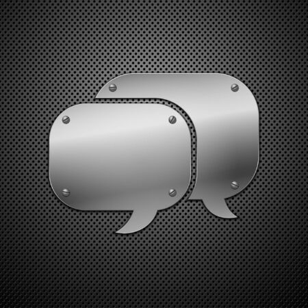 Metallic speech bubble icon. Stock Vector - 9213192