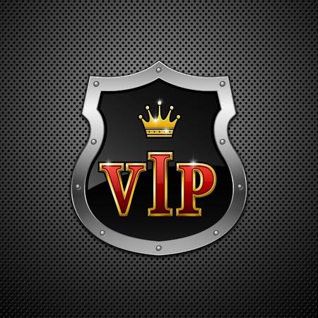vip symbol: Escudo sobre un fondo met�lico. VIP.  Vectores