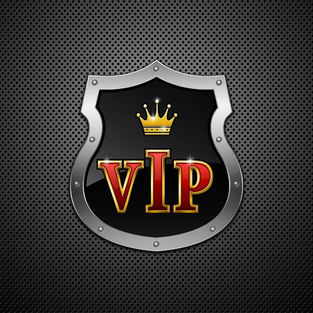 Shield on a metallic background. Vip.  Vector
