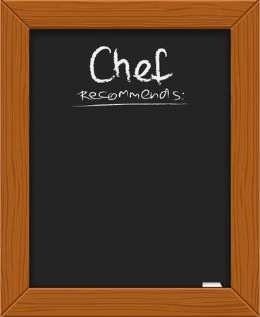 vorschlag: Küchenchefs Vorschlag - klassische Tafel mit Kreide  Illustration
