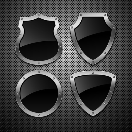badge icon: Set of vector shields. Vector illustration.