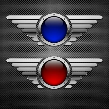 翼を持つシールドします。あなたのデザインの要素。Eps10