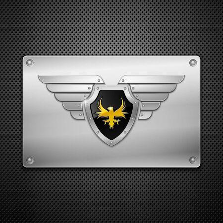 halcones: Escudo con el �guila y alas. Ilustraci�n vectorial.