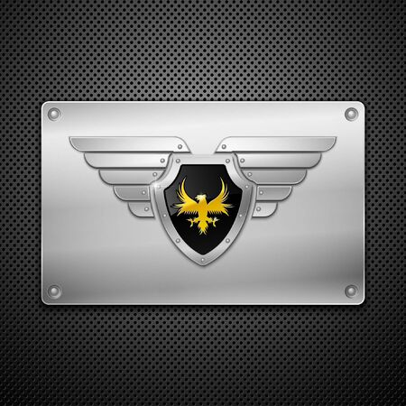eagle wing: Shield with eagle and wings. Vector illustration.