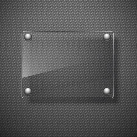 Abstracte metalen achtergrond met glazen kader. Vector illustratie.