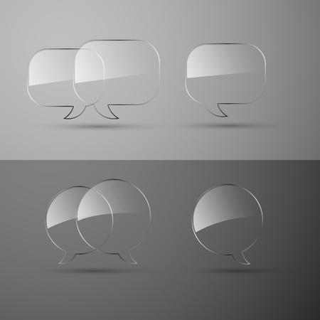 Set of realistic glass speech bubbles. Vector illustration.