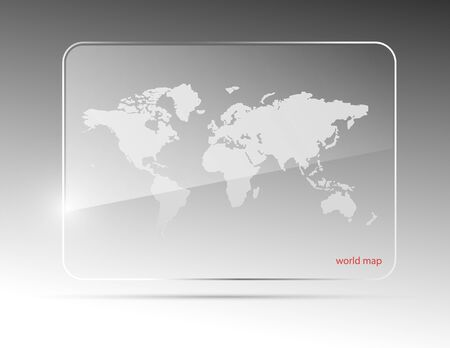 plexiglas: Glass world map. Vector illustration. Eps10