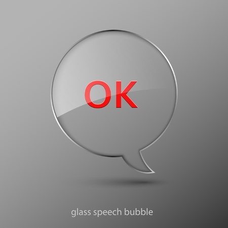 Realistic glass speech bubble. Vector